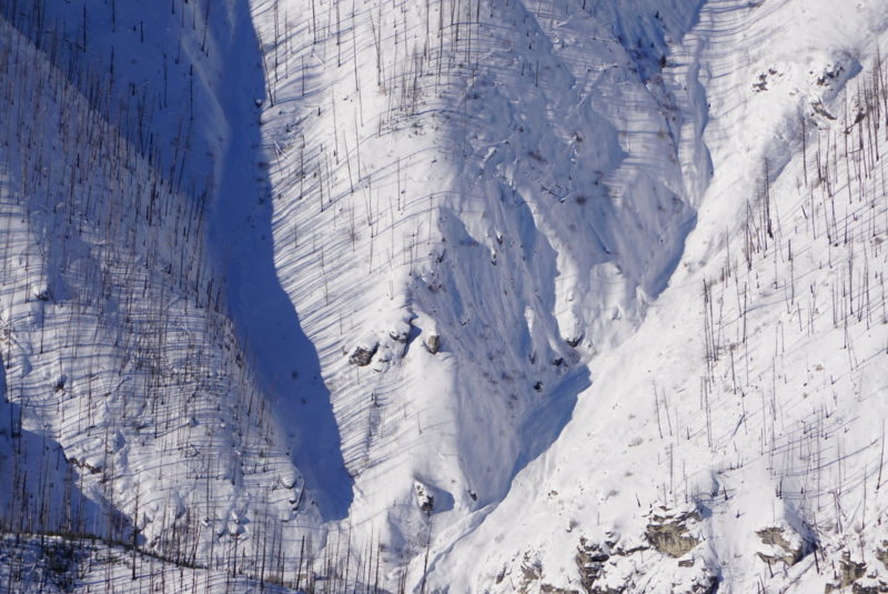 Avalanche debris likely from recent storm.